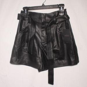 NWT Zara TRF Faux Leather High Rise Black Shorts